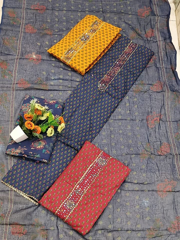 Blue Shade Cambric Suit set With Cotton Dupatta