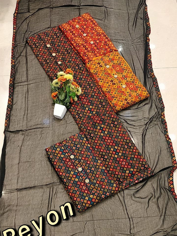 Multi Shade Cambric Suit 4 set With Cotton Dupatta