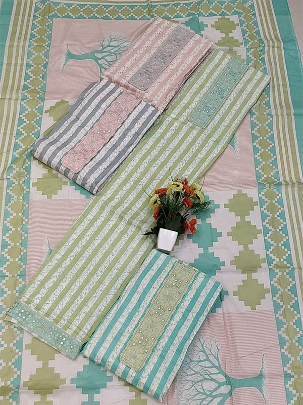 Green Shade Cambric Suit 4 set With Cotton Dupatta