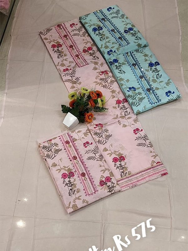 Pink Shade Cambric Suit 4 set With Cotton Dupatta