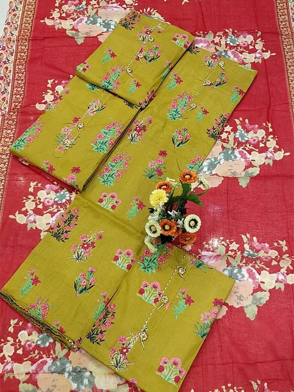 Parrot Color Cotton Suit set with Print work - Online Arihant Fashion
