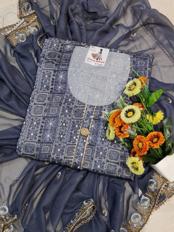 Designer Blue Color Cotton Suit with Chiffon Dupatta