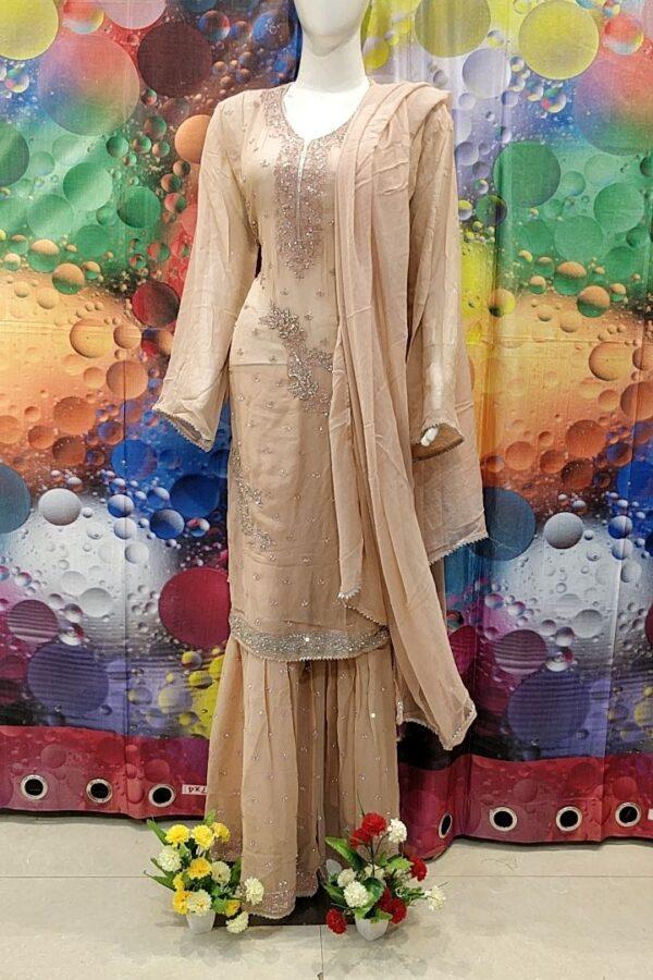 Designer PInk Color Grogrette Suit with Sharara