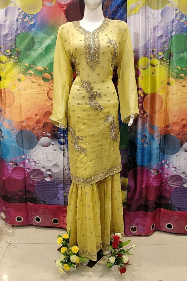 Designer Yellow Color Grogrette Suit with Sharara