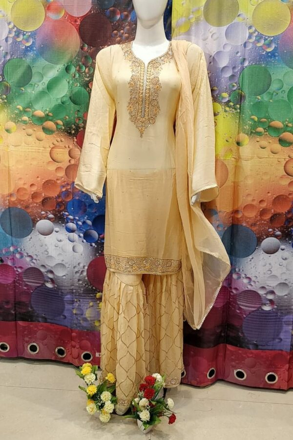 Designer Orange Color Grogrette Suit with Sharara