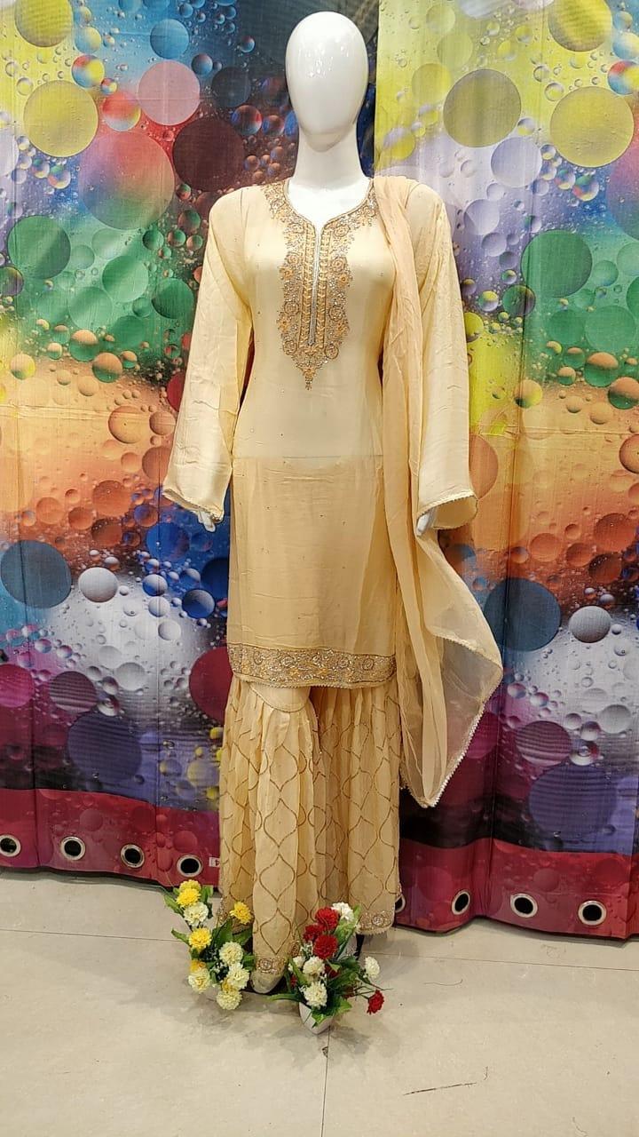 Designer Orange Color Grogrette Suit with Sharara