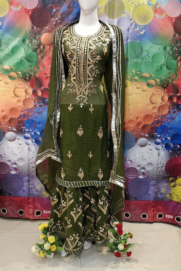 Designer Dark Green Color Grogrette Suit with Sharara