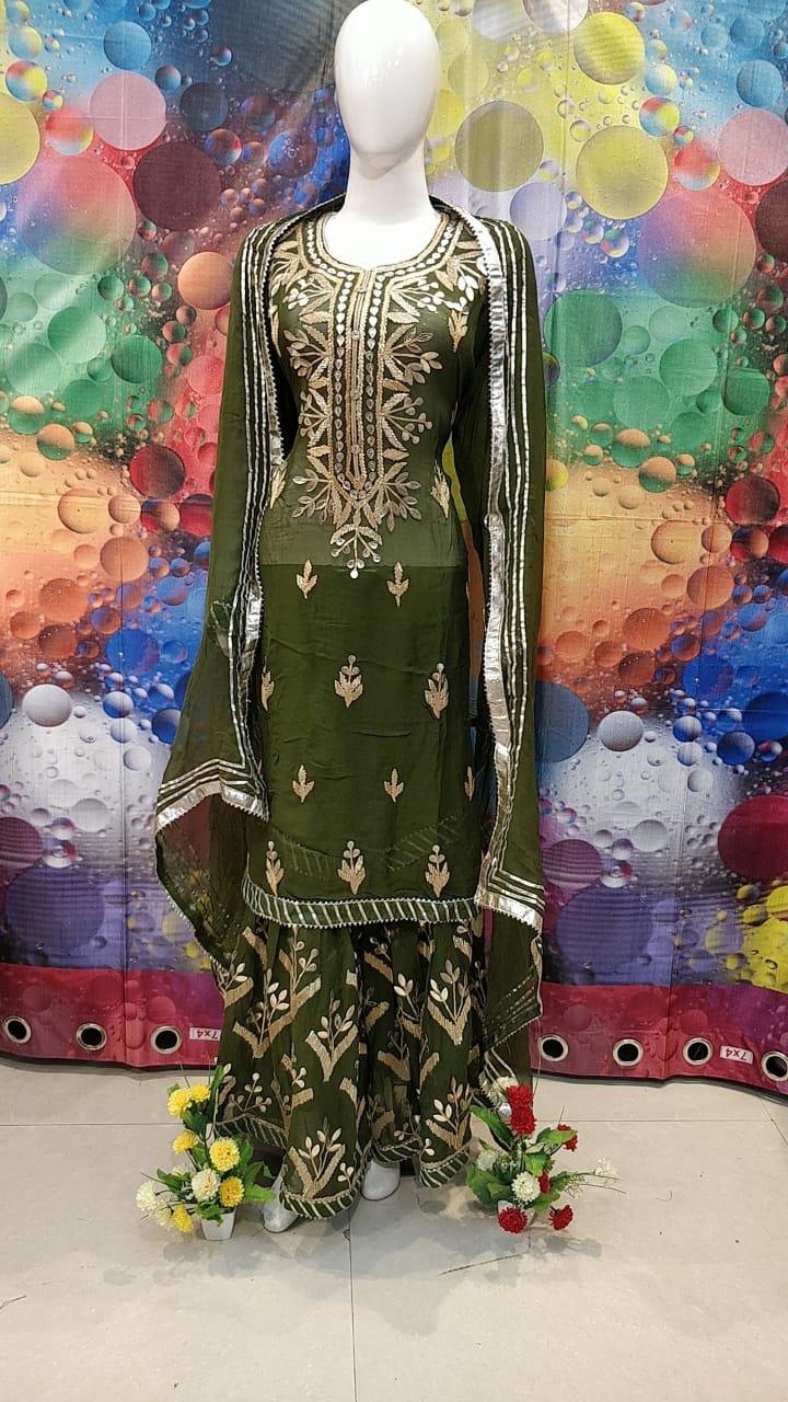 Designer Dark Green Color Grogrette Suit with Sharara