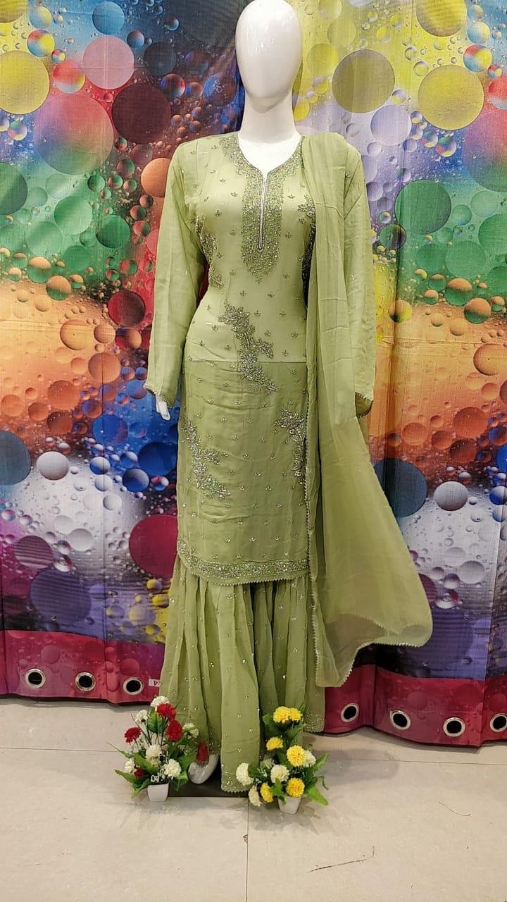 Designer Green Color Grogrette Suit with Sharara