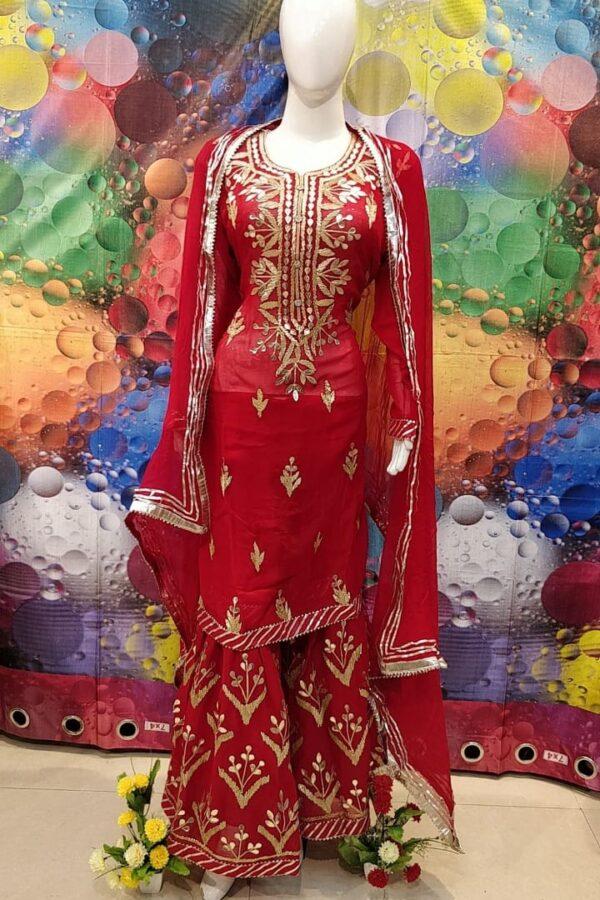 Designer Red Color Grogrette Suit with Sharara