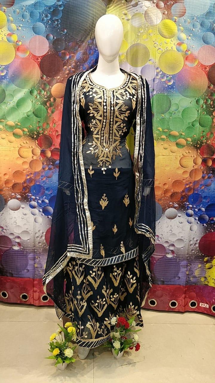 Designer Blue Color Grogrette Suit with Sharara