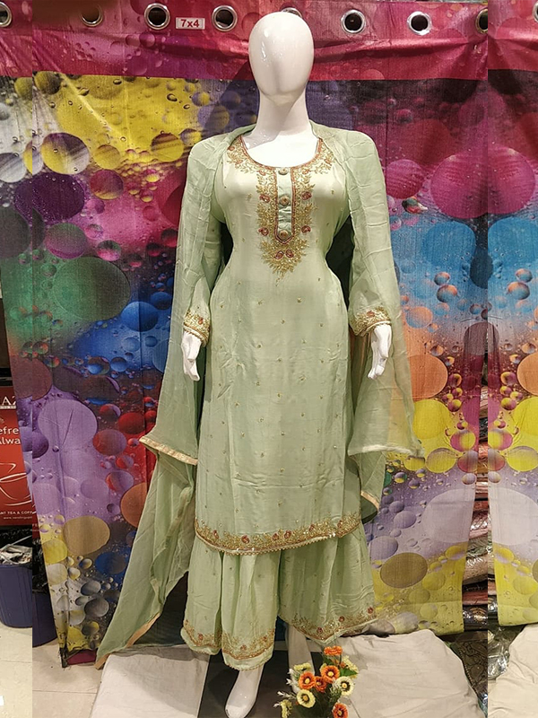 Designer Light Green Color Chinon Suit with readymade Sharara