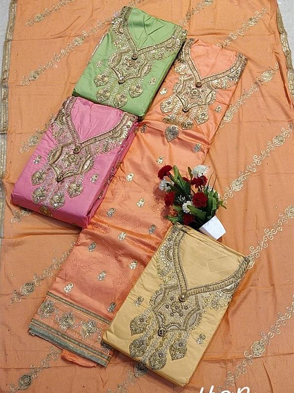 Orange Color Jaam Cotton Salwar Suit with Dupatta material