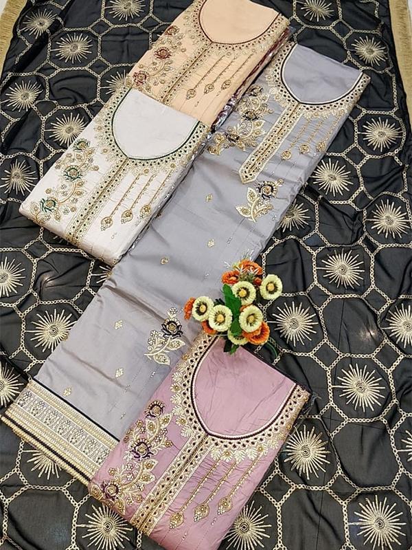 Grey jaam cotton suit set with chiffon Dupatta