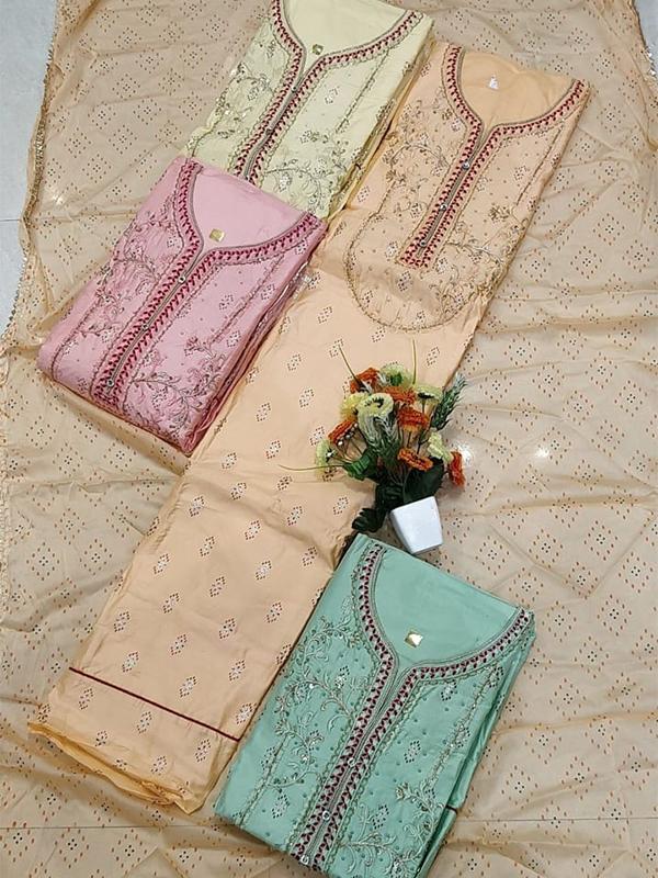 Apricot Jaam Cotton Suit With Dupatta - Online Arihant Fashion