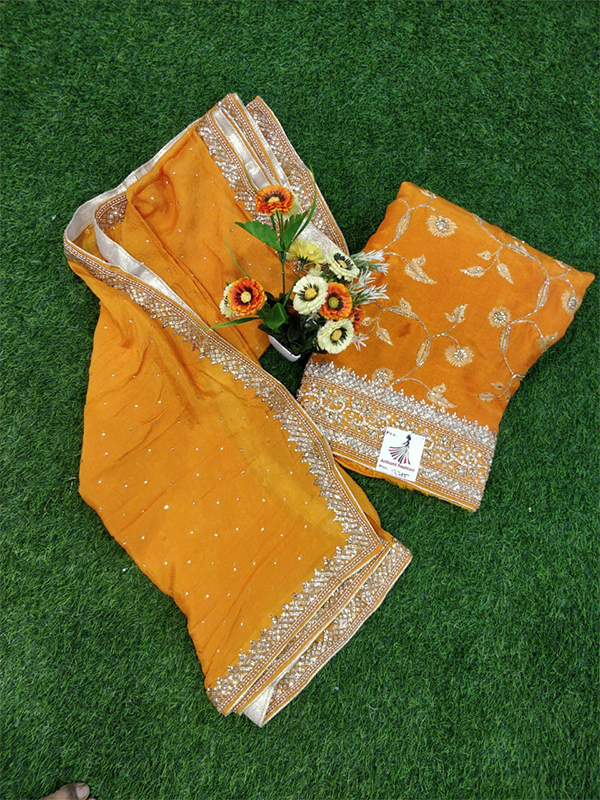 Yellow Color Opada Suit With Chinon Dupatta Heavy Handwork