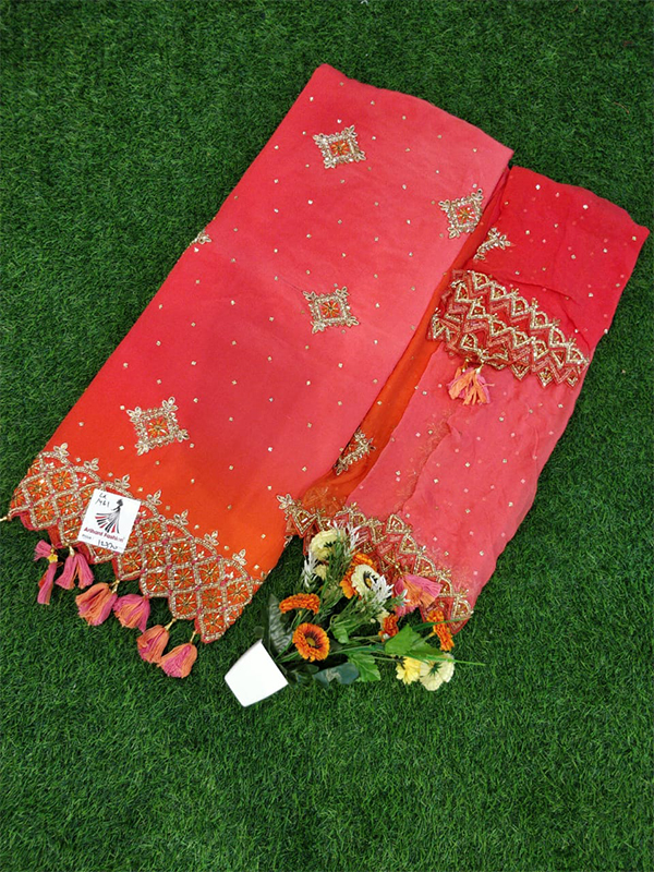 Double Shade Silk Suit with Chinon Dupatta Handwork