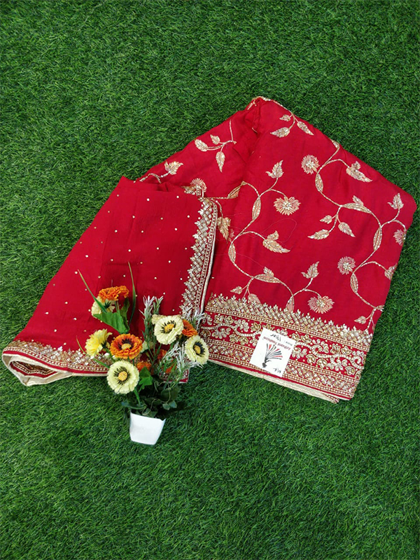 Red Color Opada Suit With Heavy Handwork Dupatta