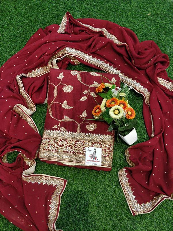 Maroon Color Opada Suit With Heavy Handwork Dupatta