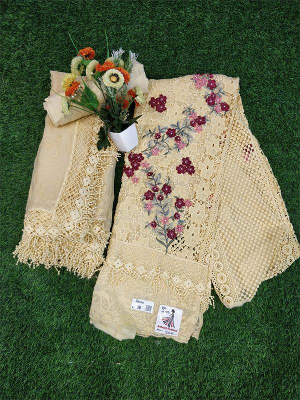 Georgatte Cream Suit with Cotton Salwar and Georgatte Dupatta