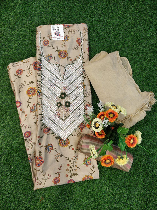 Cream Color Silk Suit With Cotton Dupatta and Handwork