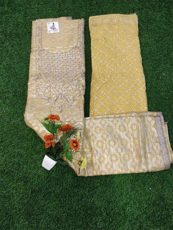 Yellow Chanderi Suit with chanderi Dupatta