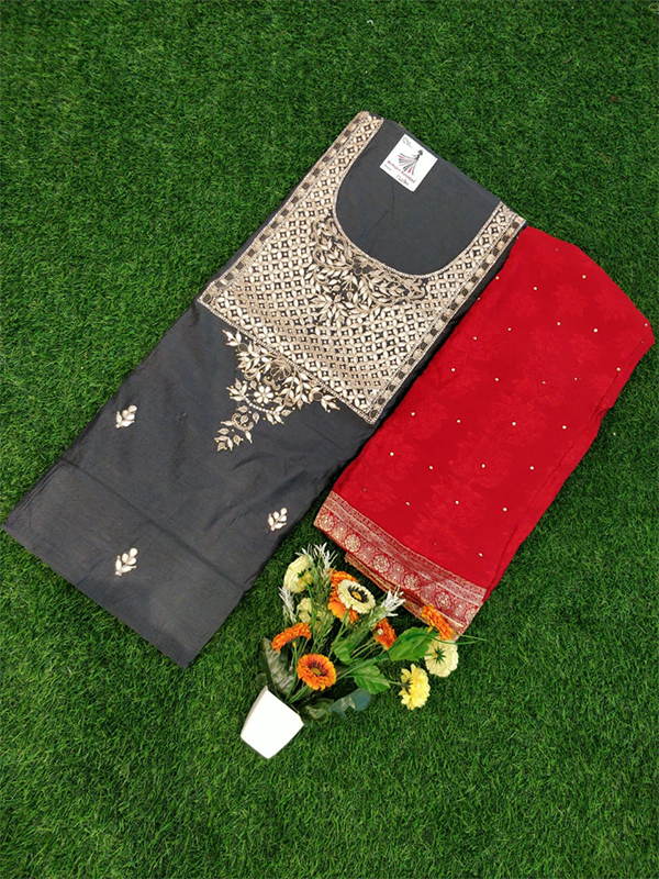 Grey Color Chanderi Suit WIth Gotta Pati work