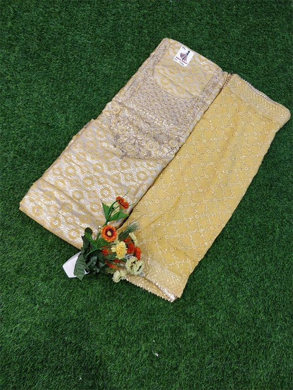Cream Color Chanderi Suit With Chanderi Duptta With Handwork