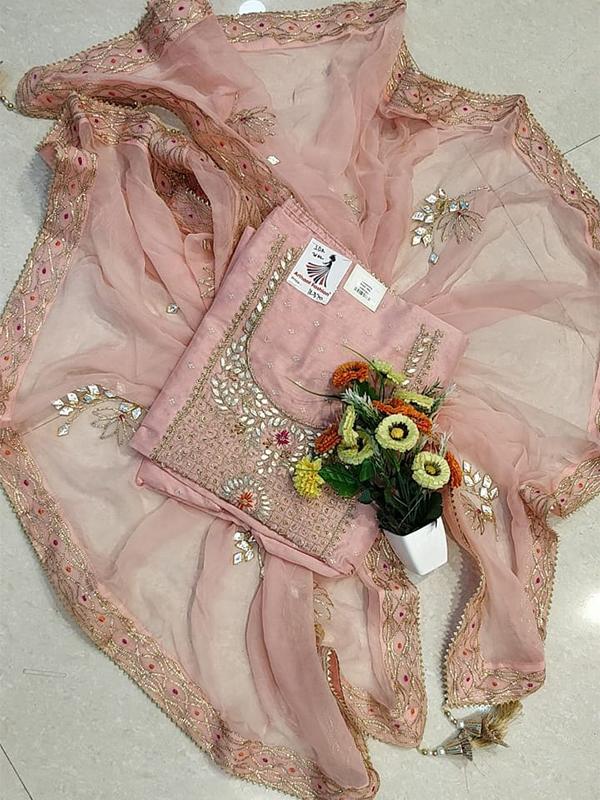 Pink Color Chanderi suit With senton Salwar and Chiffon Dupatta