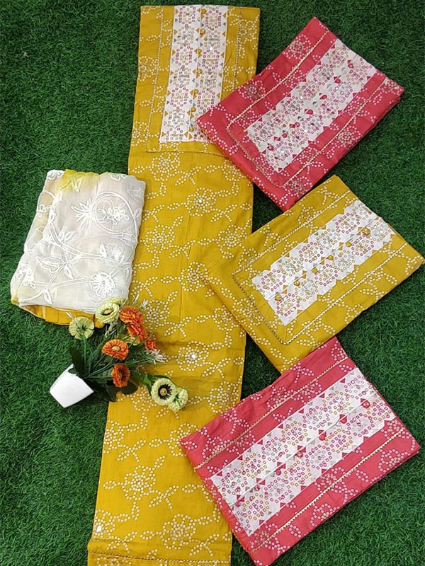 Yellow Color Cambric Cotton Suit With Cotton Salwar Dupatta