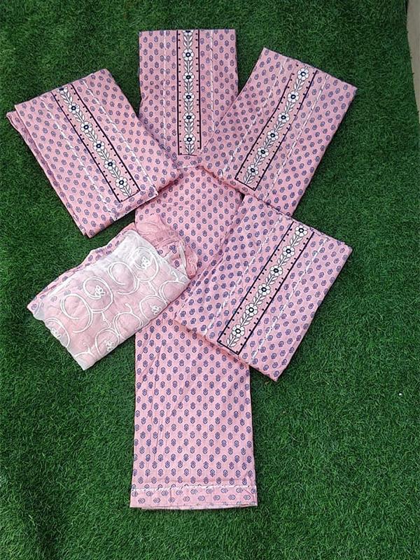 Pink Color Cambric Cotton Suit With Cotton Salwar Dupatta