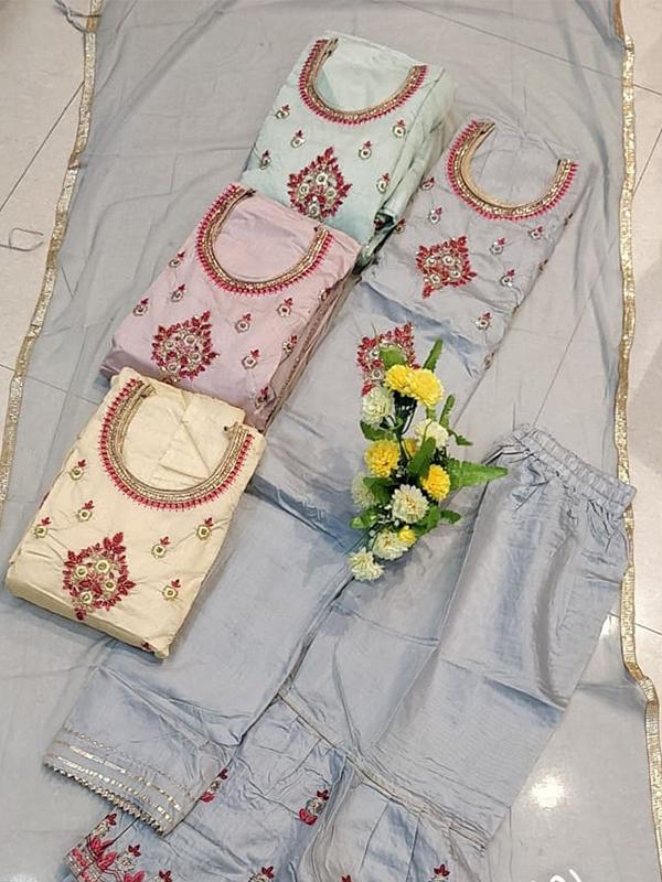 Daebal Silk Sharara Suit with Gotta work - Online Arihant Fashion