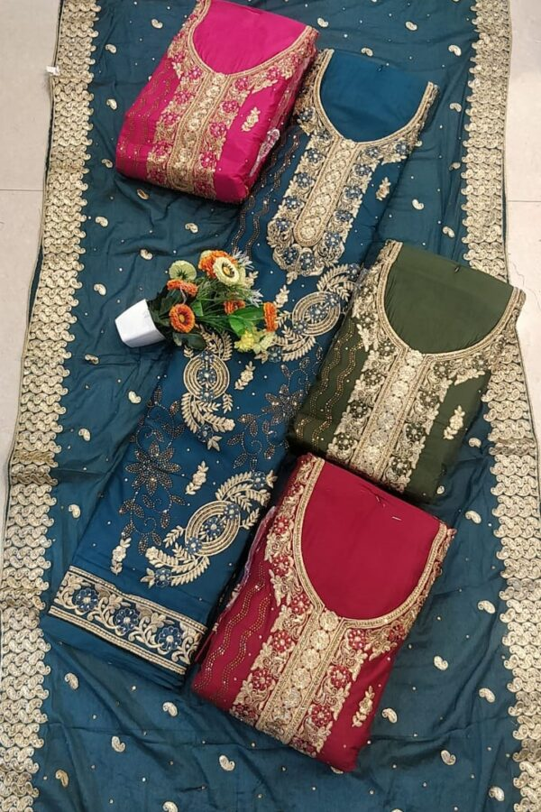 Heavy jaam Cotton Suit with heavy handwork with dupatta