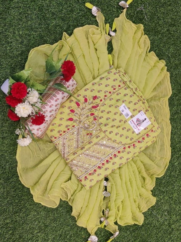 Yellow Silk Suit WIth Cotton Salwar and Dupatta