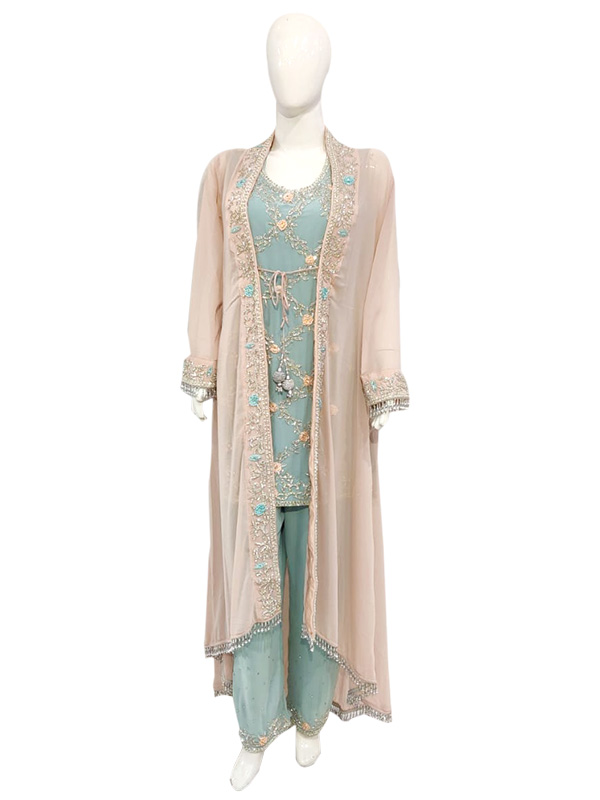 Designer Green Georgatte suit With Srag and Heavy Work