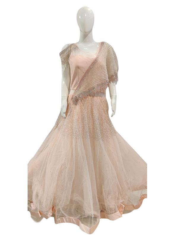 Designer Pink Color Net with zari work Gown
