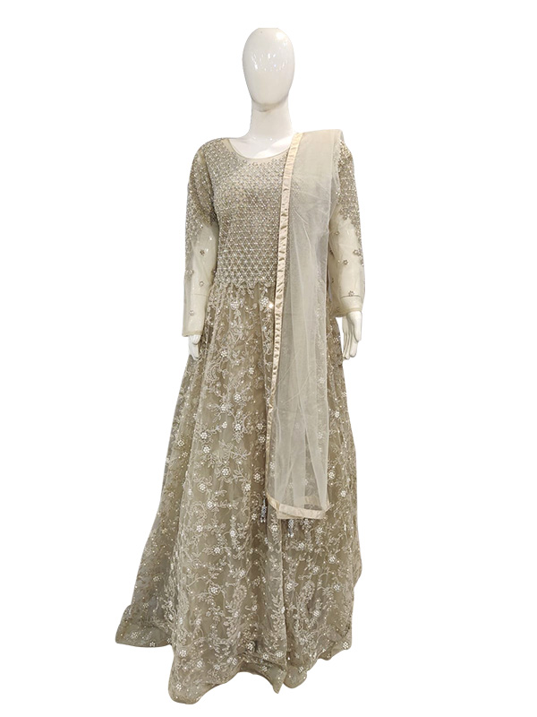 Designer Grey Color Net Fabric Gown With Net Dupatta