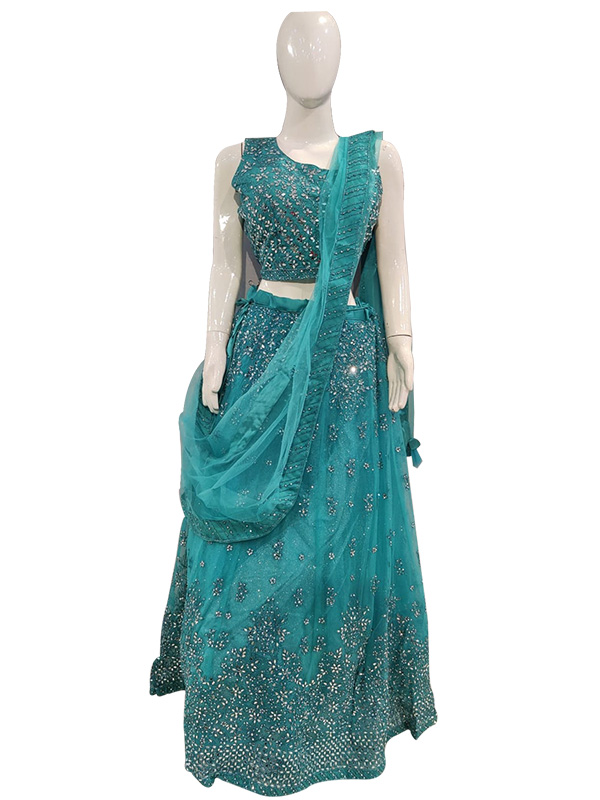 Beautiful Blue Color crop top with Skirt Dress and Net Dupatta