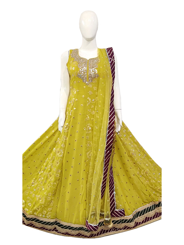 Designer Green Georgette Long Dress With Net Dupatta