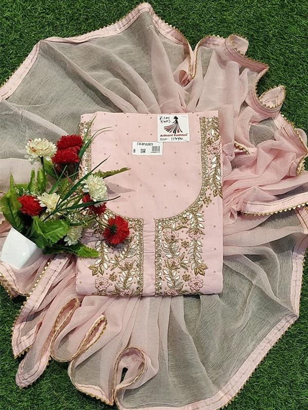 Designer Pink Color Cotton Suit with Chiffon Dupatta