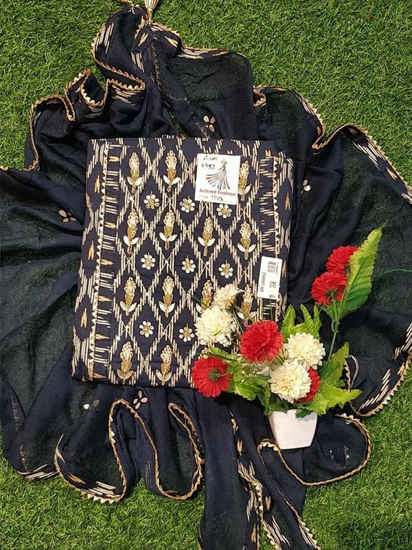 Blue Cotton Suit with Cotton Bottom Chiffon Dupatta