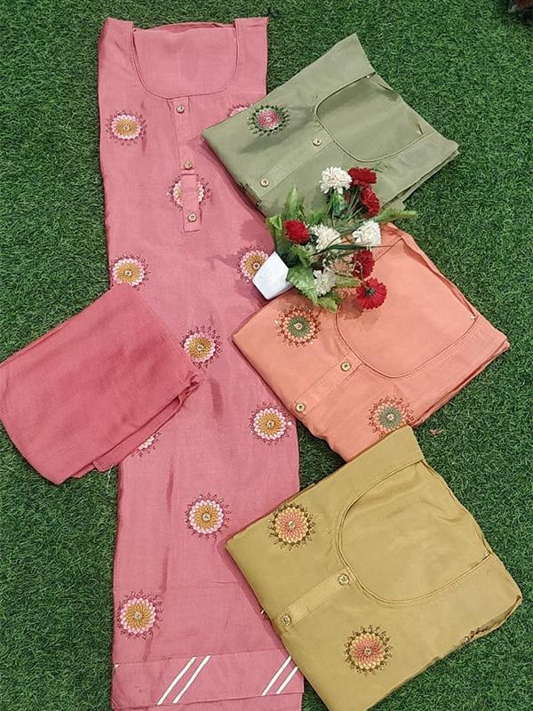 Pink Chinon Suit with senton Bottom chiffon Dupatta