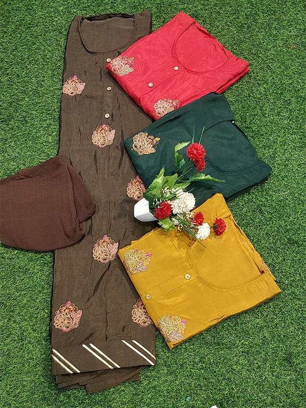 Designer Brown Chinon Suit with senton Bottom chiffon Dupatta