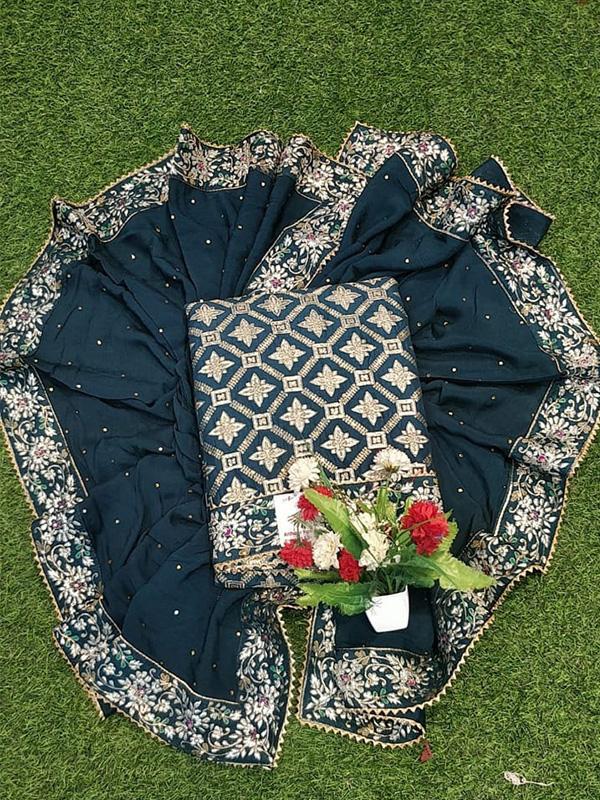 Blue Dola Silk Suit With Chinon Dupatta