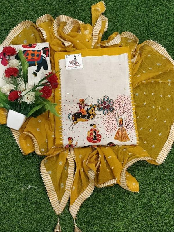 Yellow Cotton Elephant Print Suit With Chiffon Dupatta