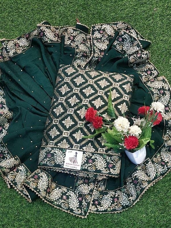 Green Dola Silk Suit With Chinon handwork Dupatta