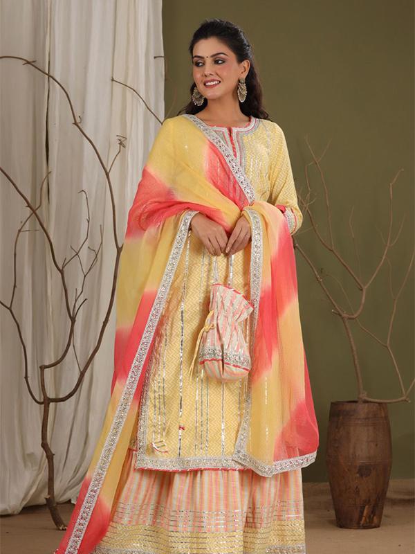 Yellow Color Peplum Sharara Suit with Cotton Bottom and Chiffon Dupatta