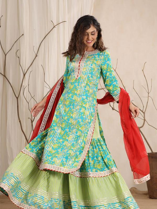 Green Color Peplum Sharara Suit with Cotton Bottom and Chiffon Dupatta