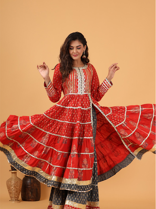red Color Peplum Sharara Suit with Cotton Bottom and Chiffon Dupatta