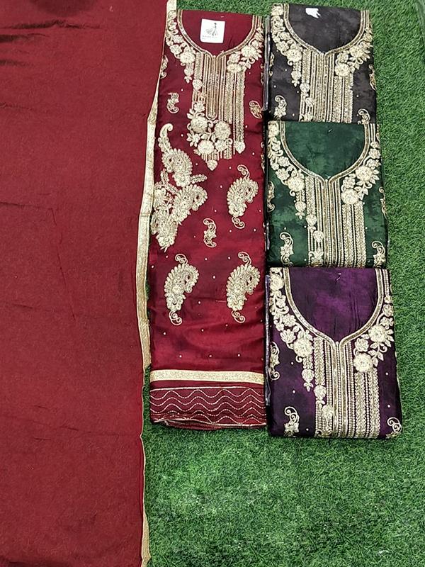 Designer Red Color Jaam Cotton Suit With Chiffon Dupatta